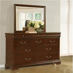 Lifestyle C4116A 10 Drawer Dresser and Beveled Mirror