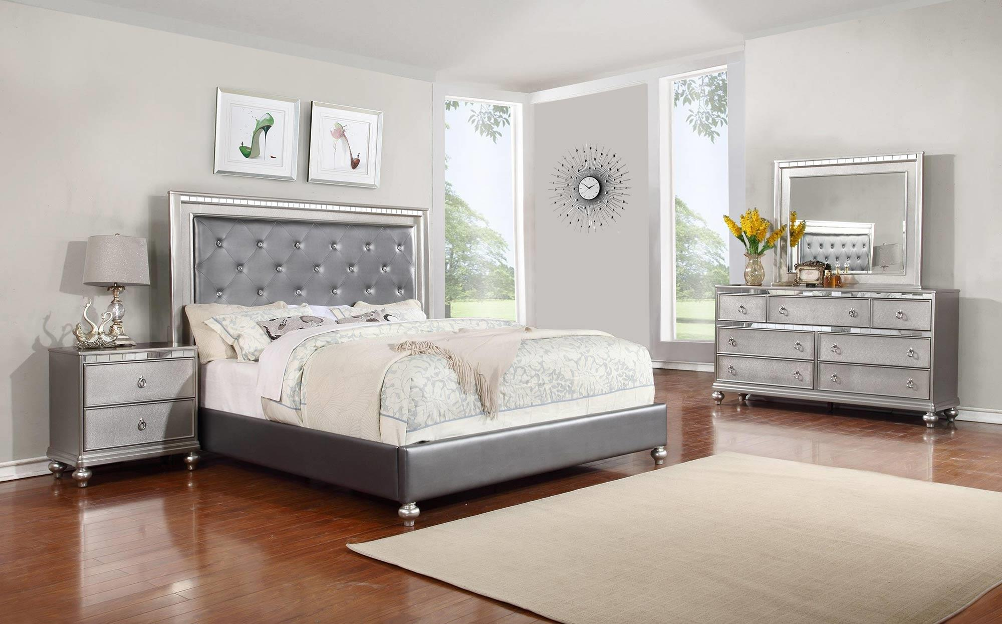 Lifestyle Glam 4 Piece King Bedroom Set   Item Number: C4183A K