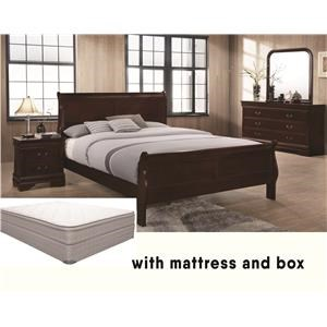 Lifestyle Louis Phillipe Queen Bedroom Group with Mattress and Box