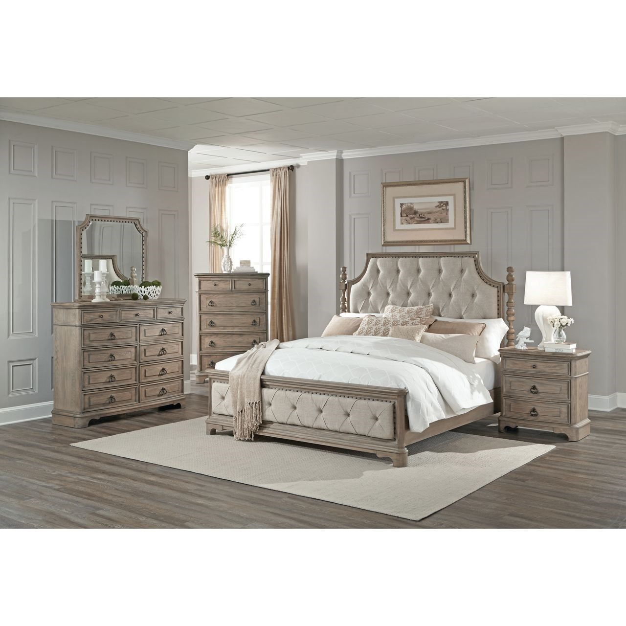Lifestyle Pearl Upholstered Queen Bed With Diamond Tufting