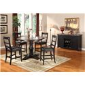 Lifestyle CDC052 Dining Contemporary Slat-Back Pub Chair - Shown with Pub Table & Server