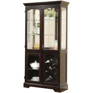 Lifestyle D613 2 Door Curio Cabinet with Built-in Wine Storage Rack