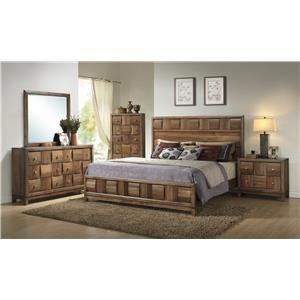 Lifestyle Walnut Parquet Queen 6-Piece Bedroom Group