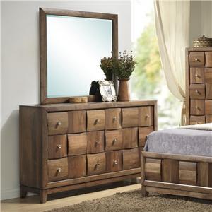 Lifestyle Walnut Parquet 6 Drawer Dresser and Mirror