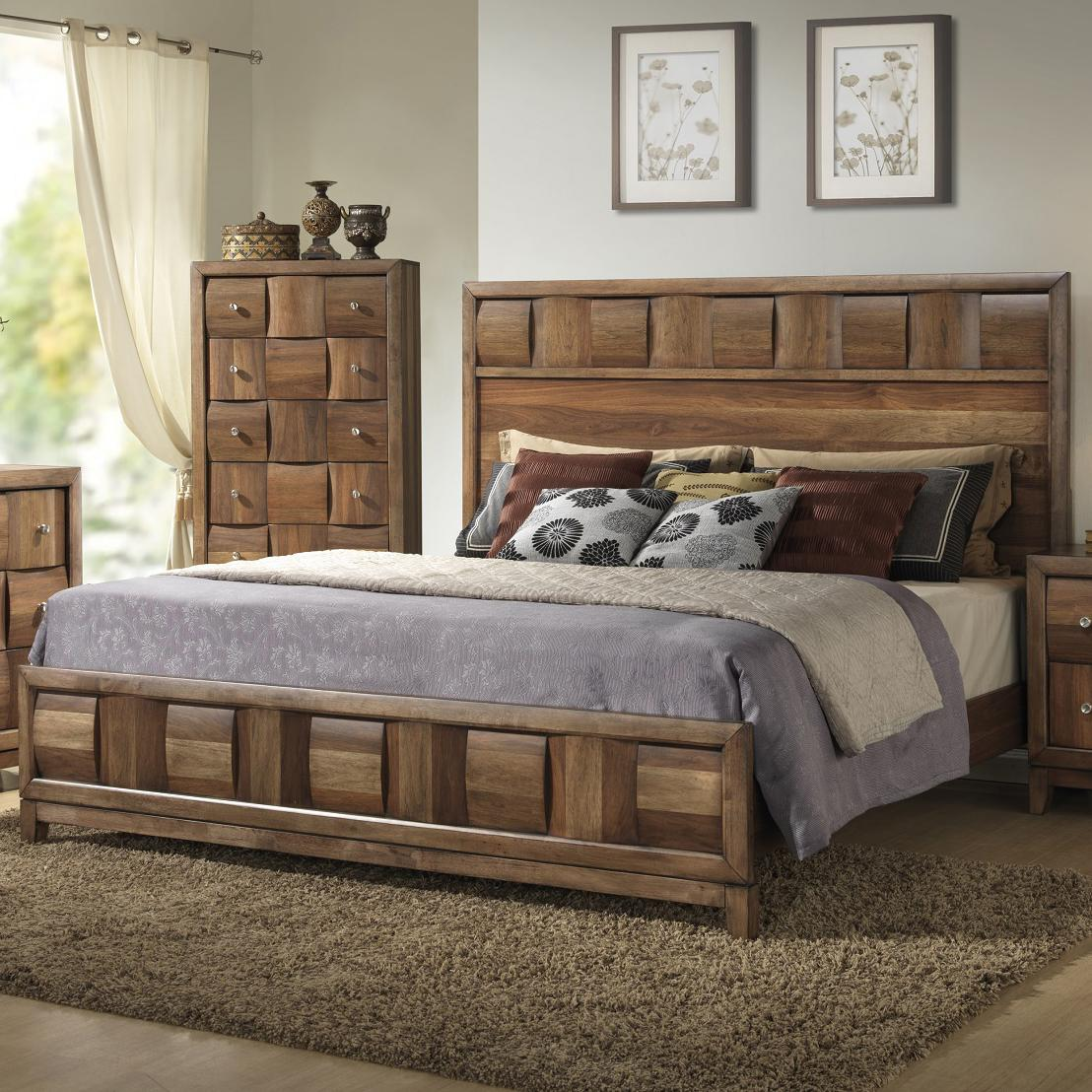 Lifestyle Bedroom Furniture Lifestyle Walnut Parquet Casual Queen Bed Royal Furniture