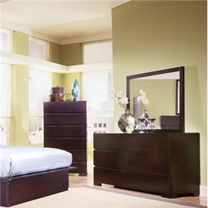 Carmel Contemporary Dresser and Mirror Combo by Ligna Furniture