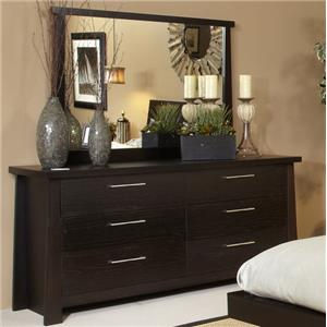 Zen Dresser with Six Drawers and Mirror with Wood Frame by Ligna Furniture