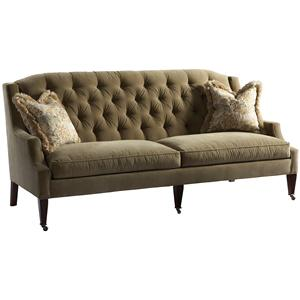 Lillian August Custom Upholstery Linley Park Sofa with Tufted Back and Tapered Front Legs with Casters