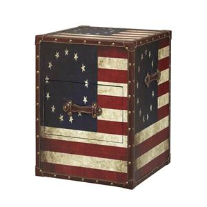 Linon Occasional Tables and Trunks Vintage American Flag Storage End Table