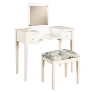 Vanities Contemporary Lift-Lid Vanity and Upholstered Stool Set by Linon