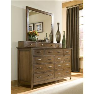Dresser with Drawer Deck and Mirror