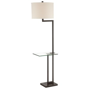 Dark Bronze Finished Floor Lamp with Linen Shade and Glass Table