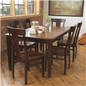 American Amish Solid Wood Dining Sets Laker Solid Wood Contemporary Dining Side Chair - Shown with Anniversary Table