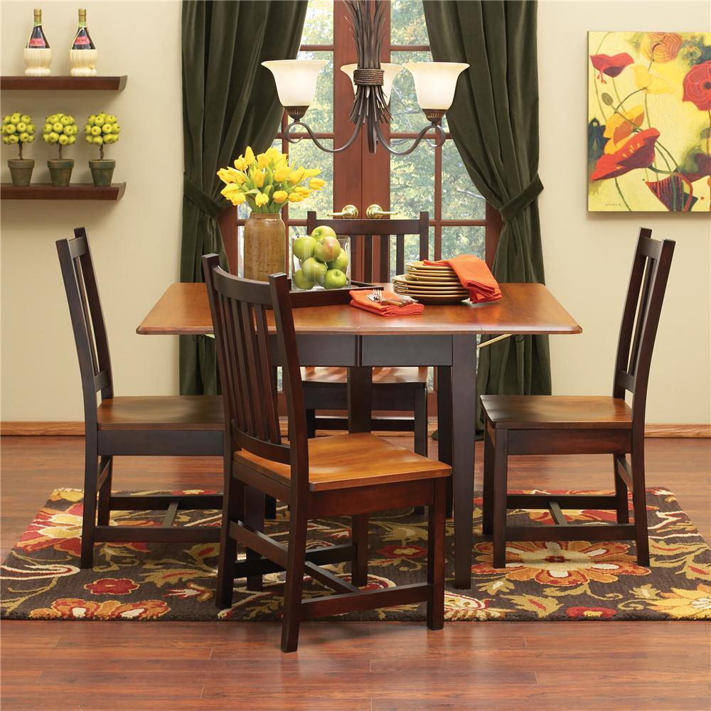 L.J. Gascho Furniture Saber Saber Solid Maple 5 Piece Dining Set - Item Number: 7242SQT+38S