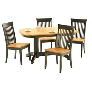 American Amish Split Rock Dining Table and Slated Chair Group