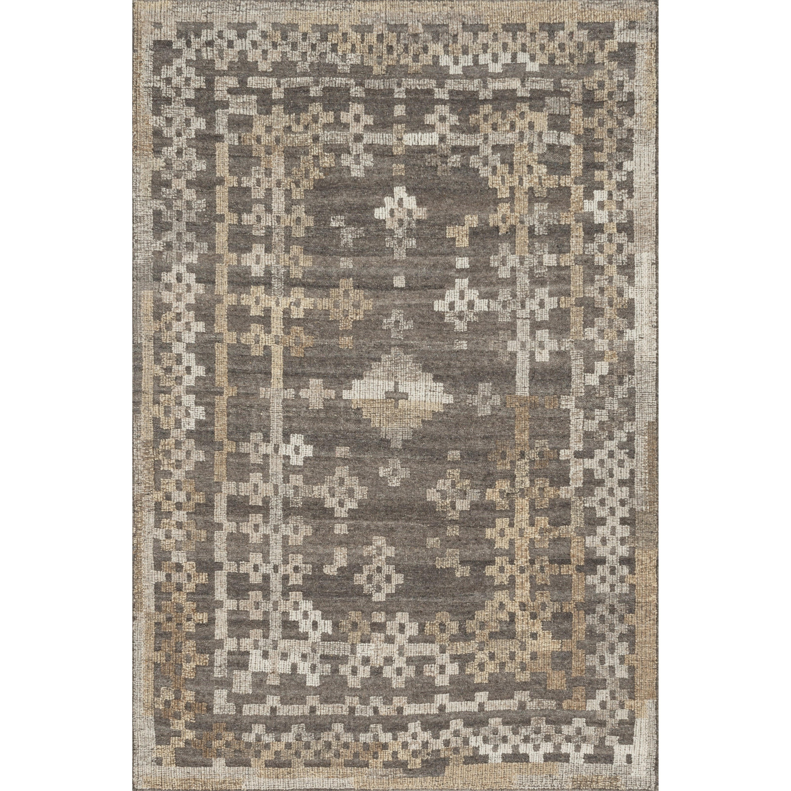 """Akina 1'6"""" x 1'6""""  Charcoal / Taupe Rug by Loloi Rugs at Virginia Furniture Market"""