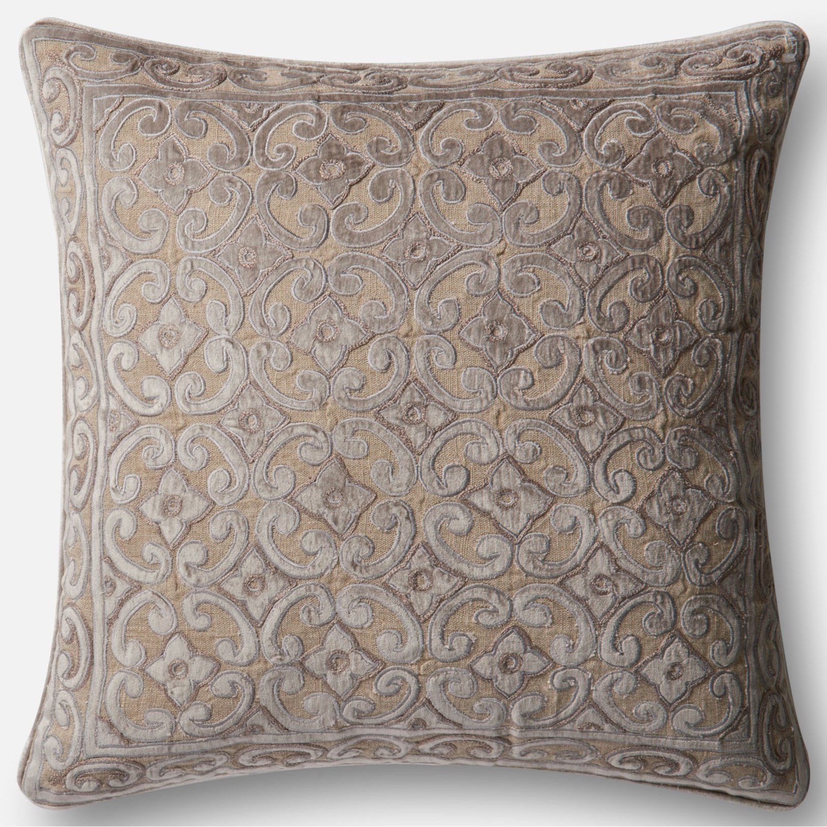 "Applique 22"" X 22"" Down Pillow by Loloi Rugs at Sprintz Furniture"