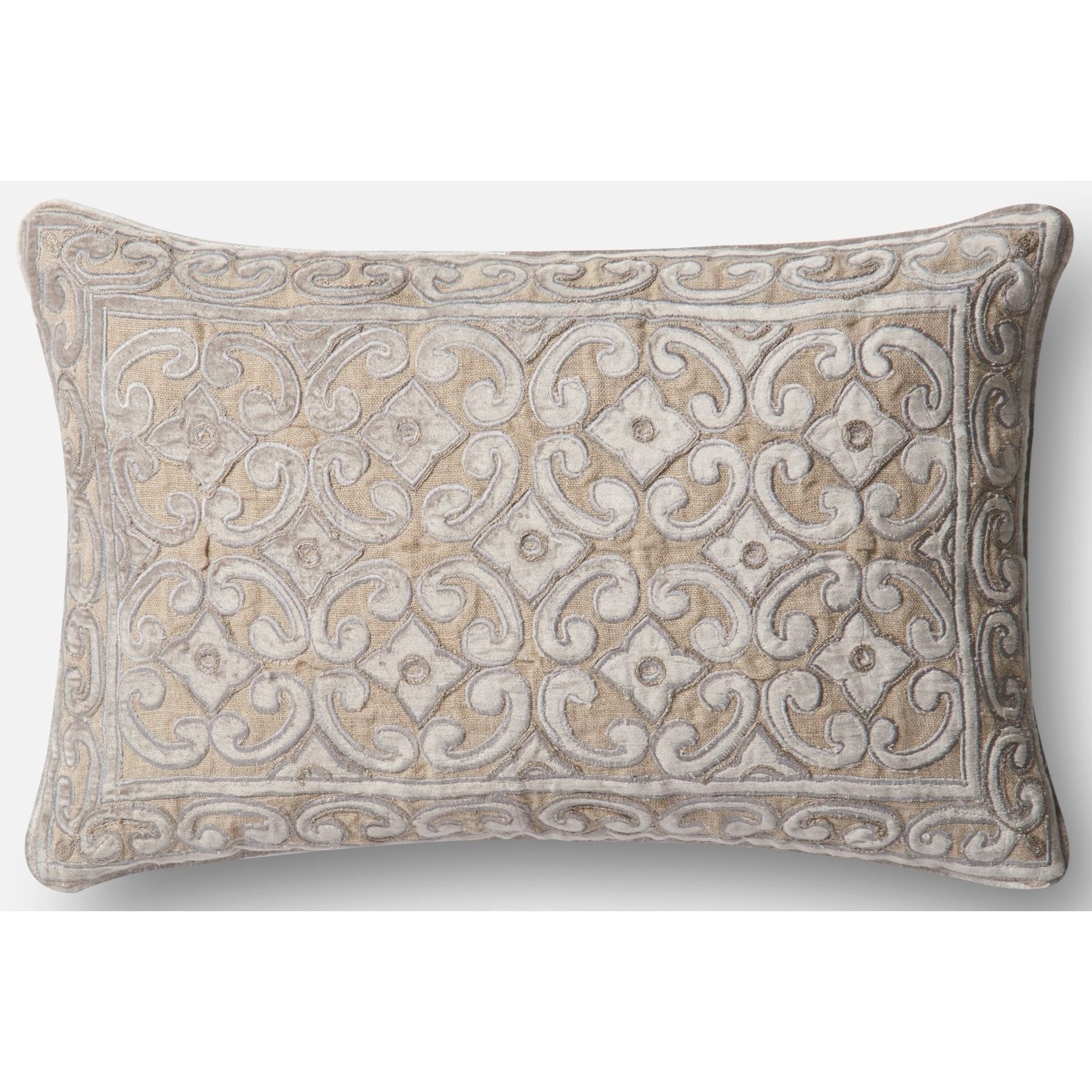 """Applique 13"""" X 21"""" Down Pillow by Loloi Rugs at Virginia Furniture Market"""