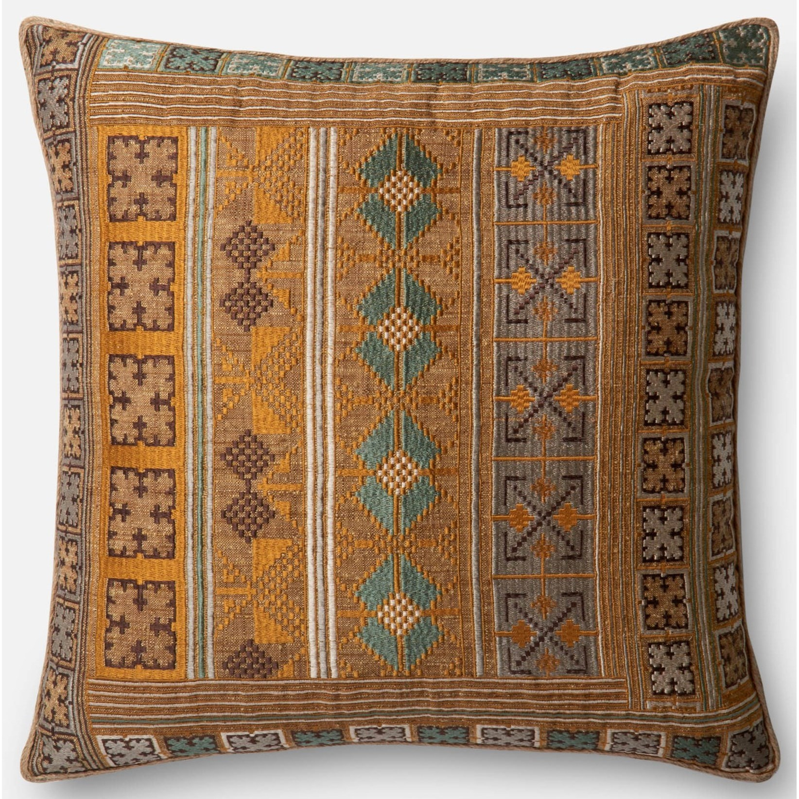 "Applique 22"" X 22"" Down Pillow by Loloi Rugs at Virginia Furniture Market"