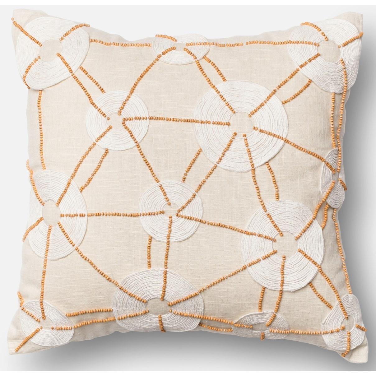 """Beaded 18"""" X 18"""" Down Pillow by Loloi Rugs at Virginia Furniture Market"""