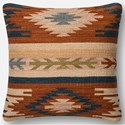 """Loloi Rugs Dhurri Style 18"""" X 18"""" Down Pillow - Item Number: DSETP0391RUBBPIL1"""