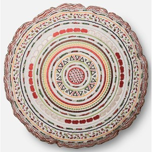 """Loloi Rugs Embroidery 1'-8"""" X 1'-8"""" ROUND Cover w/Poly"""