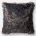 "Loloi Rugs Faux Fur 22"" X 22"" Down Pillow - Item Number: DSETP0477BLGYPIL3"