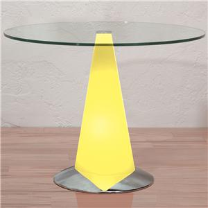 LumiSource Living Room Accents Tavilo End Table with Lighted Base and Glass Table Top