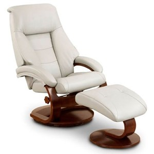 Mac Motion Chairs Oslo Collection Mandal Leather Reclining Chair & Ottoman