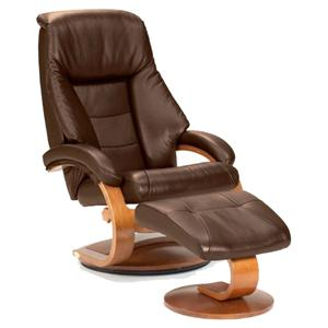 Oslo Collection Mandal Leather Reclining Chair and Ottoman with Hardwood Frame by Mac Motion Chairs