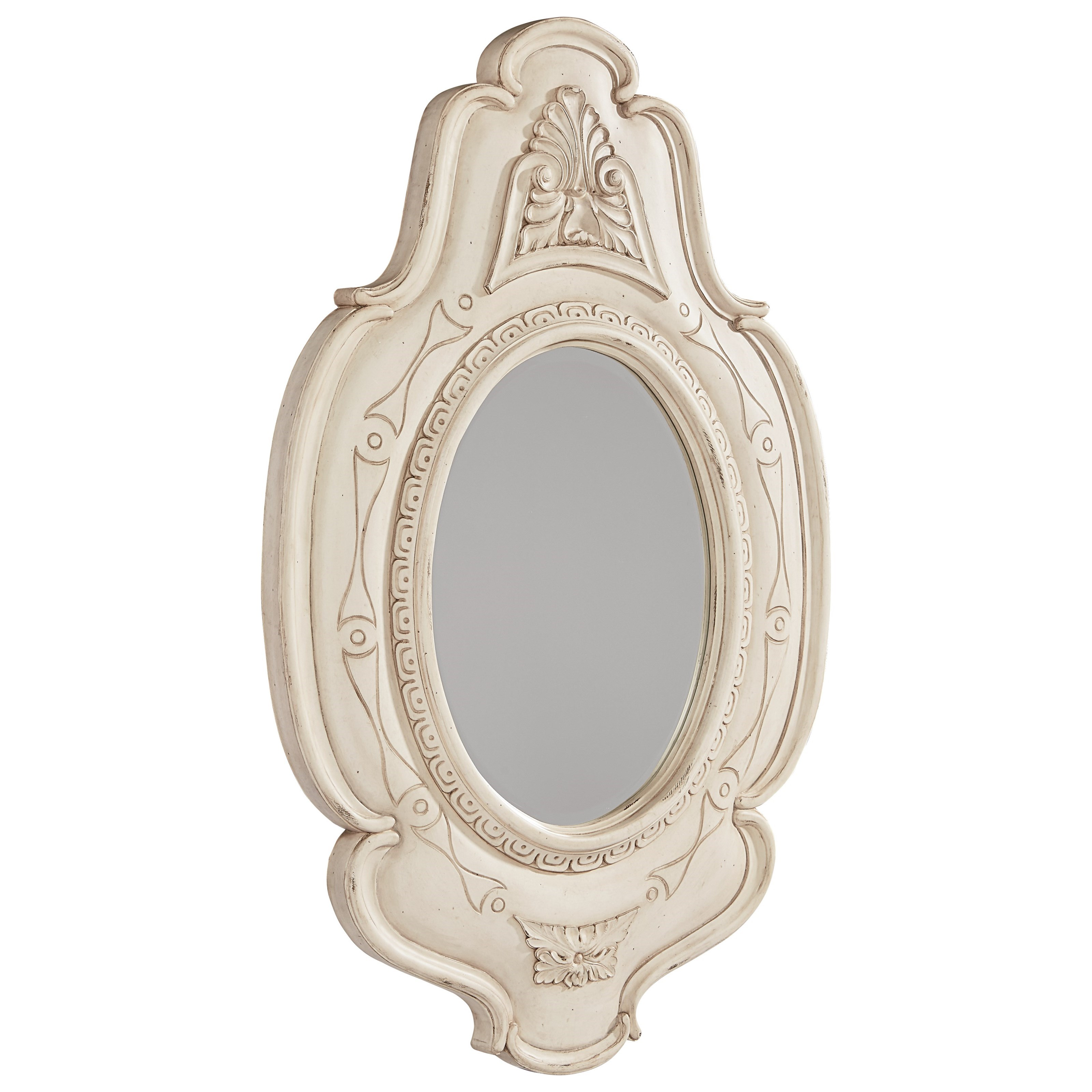 Magnolia Home by Joanna Gaines French Inspired Embellished Cameo Mirror - Antique White - Item Number: 3070208G