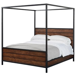 Magnolia Home by Joanna Gaines Industrial Queen Wood Plank Metal Canopy Bed