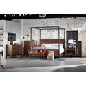 Magnolia Home by Joanna Gaines Industrial Queen Wood Plank Metal Canopy Bed with Milk Crate Finish - Bed Shown May not Represent Size Indicated