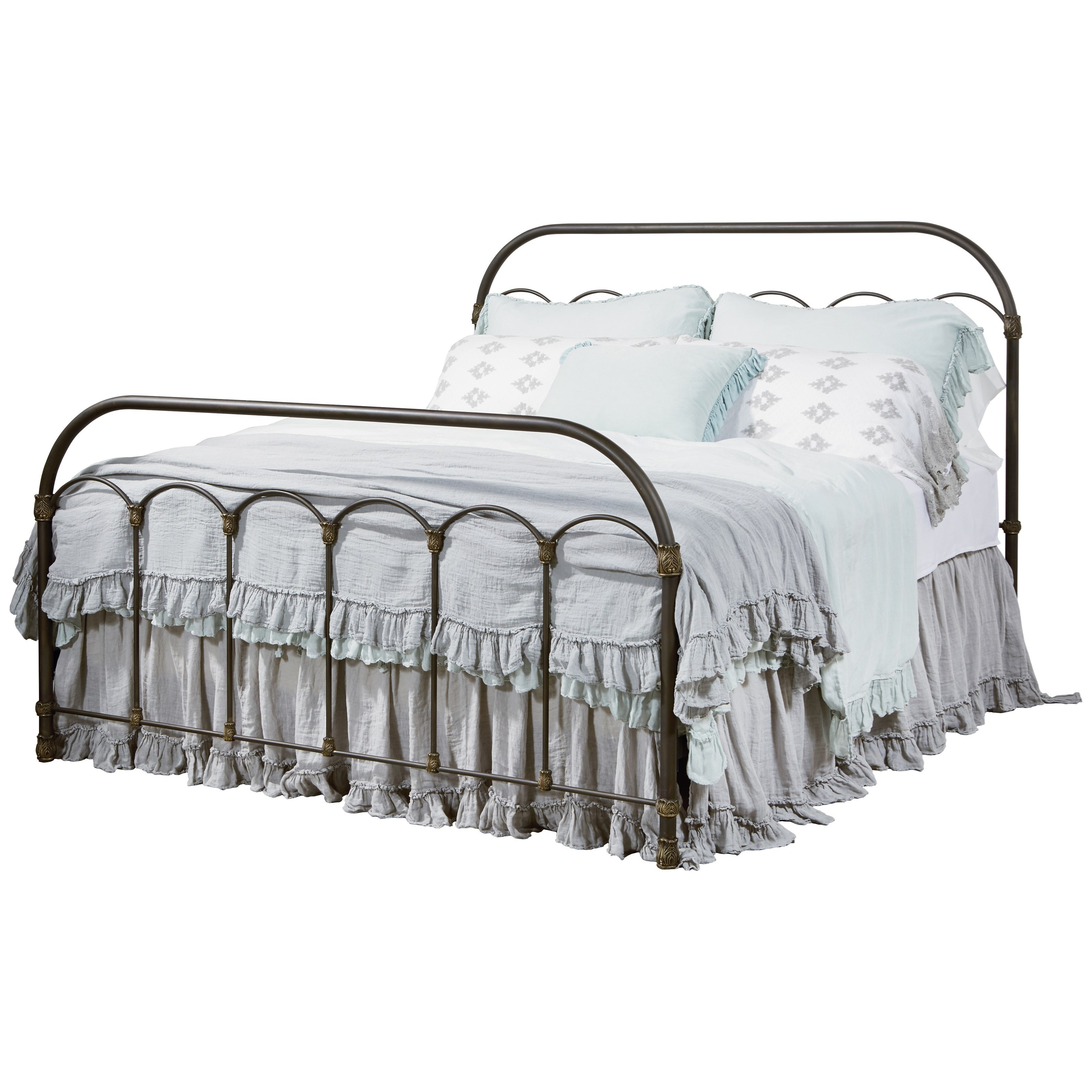 Magnolia Home by Joanna Gaines Primitive King Colonnade Metal Bed - Item Number: 2070468W+2070412W