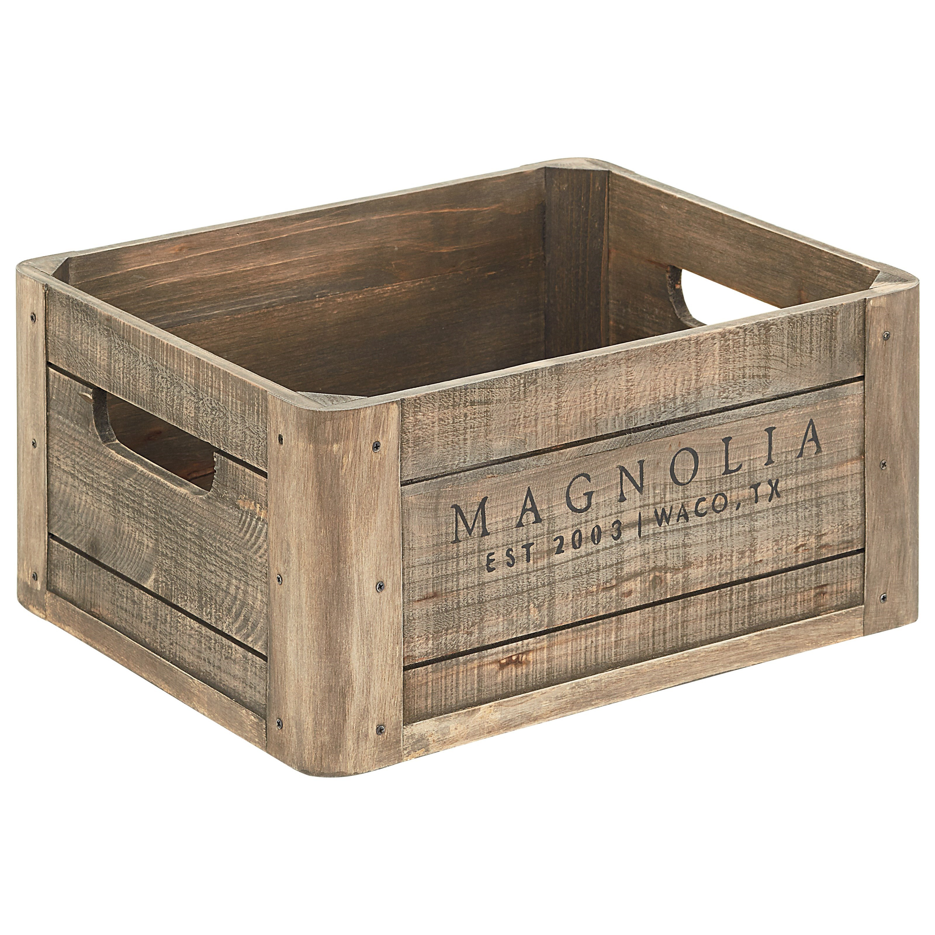Accessories Wood Crate with Magnolia Logo by Magnolia Home by Joanna Gaines at Sadler's Home Furnishings