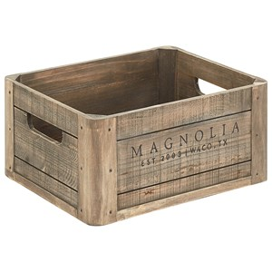 Magnolia Home by Joanna Gaines Accessories Wood Crate with Magnolia Logo