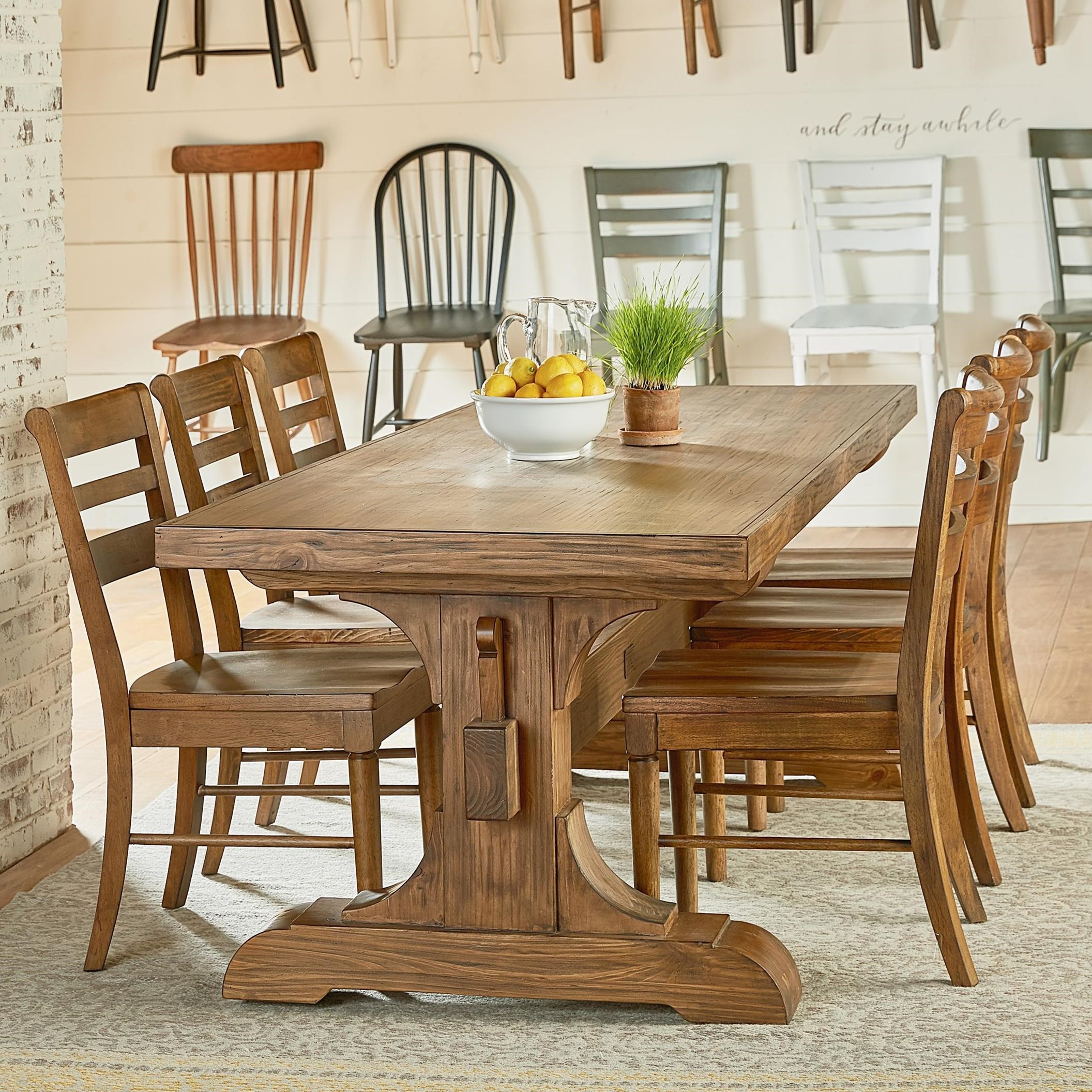 Farmhouse Dining Table And Chairs: Magnolia Home By Joanna Gaines Farmhouse Seven Piece Trestle Table And Chair Set