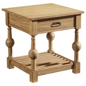 Magnolia Home by Joanna Gaines Farmhouse Louver End Table with Wheat Finish