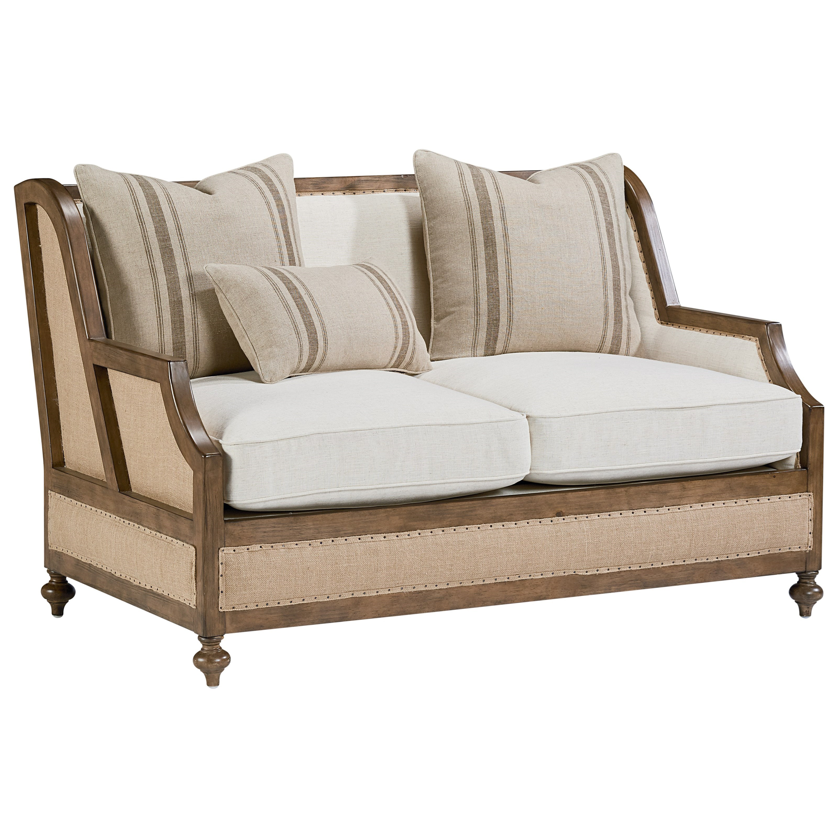 Magnolia Home By Joanna Gaines Foundation Foundation Loveseat With Three Accent Pillows