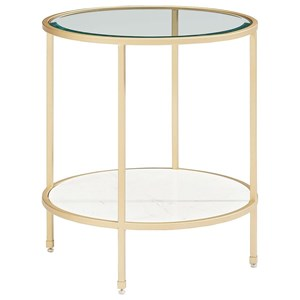 Magnolia Home by Joanna Gaines Modern Ellipse End Table with Glass Top