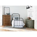 Magnolia Home by Joanna Gaines Primitive Colonnade Twin Metal Bed