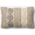 "Magnolia Home by Joanna Gaines for Loloi Accent Pillows 13"" X 21"" Cover w/Down Pillow - Item Number: DSETP0461GYIVPIL5"