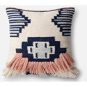 """Magnolia Home by Joanna Gaines for Loloi Accent Pillows 22"""" X 22"""" Cover w/Down Pillow - Item Number: DSETP1028NVPIPIL3"""