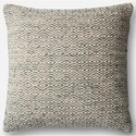 "Magnolia Home by Joanna Gaines for Loloi Accent Pillows 22"" X 22"" Cover w/Down Pillow - Item Number: DSETP1031GY00PIL3"