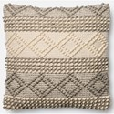 """Magnolia Home by Joanna Gaines for Loloi Accent Pillows 22"""" X 22"""" Cover w/Poly Pillow - Item Number: PSETP0460GYIVPIL3"""
