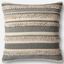"Magnolia Home by Joanna Gaines for Loloi Accent Pillows 22"" X 22"" Cover w/Poly Pillow - Item Number: PSETP1022GYIVPIL3"