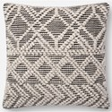 """Magnolia Home by Joanna Gaines for Loloi Accent Pillows 18"""" x 18"""" Polyester Pillow - Item Number: PSETP1095IVBLPIL1"""