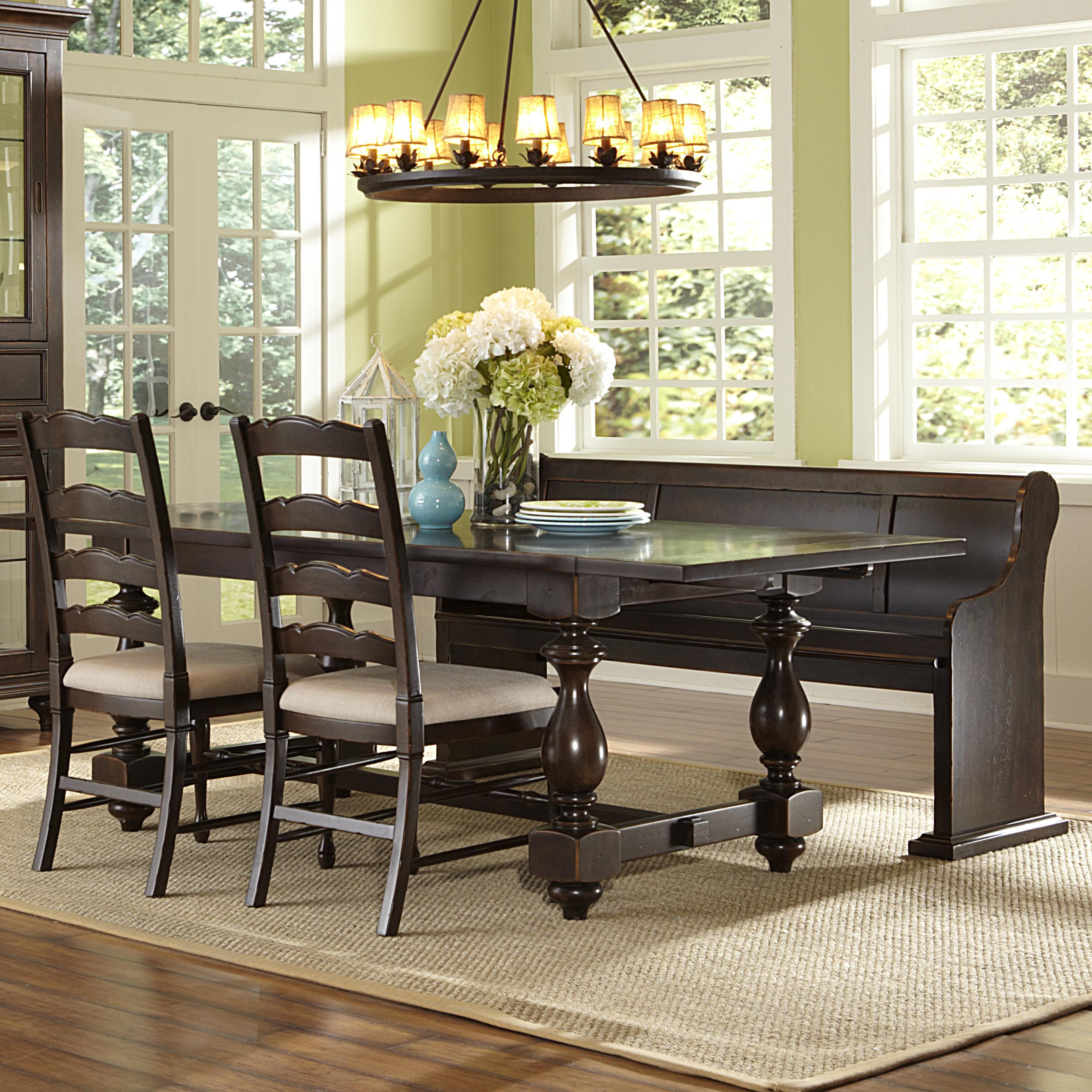 Magnussen Home  Loren 4 Piece Table, Bench and Chair Set - Item Number: D2470-20+79+2x62