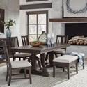 Magnussen Home Westley Falls 6-Piece Dining Set w/ Bench - Item Number: D4399-25+4X62+68