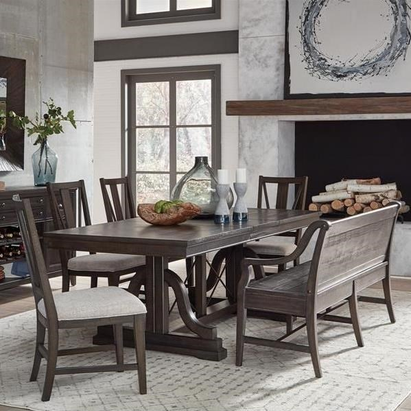 Westley Falls 6-Piece Dining Set w/ Bench by Magnussen Home at Value City Furniture